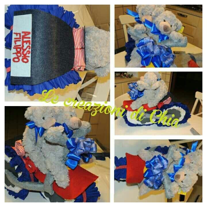Torta pannolini per gemelli  #twins #dyalpaper #triciclo #orsetti #bear #lecreazionidichia #pannolini #baby #bebe #blu #red #rosso #moto