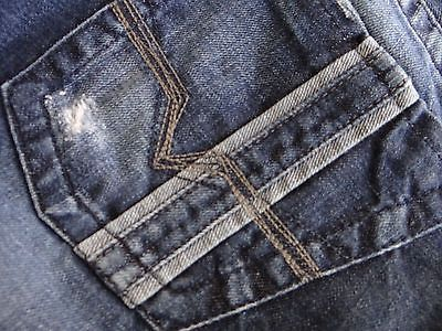 GUESS Los Angeles Men Jeans Rebel Thick Stitch Distressed Low Straight 33 x 32