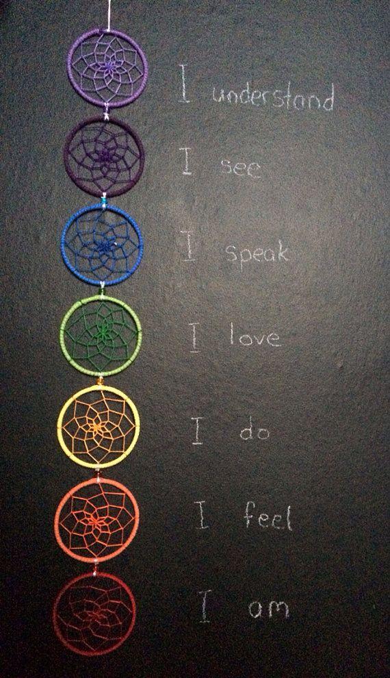 Atrapasueños de arco iris de 7 chakras. por dreampeacepositivity