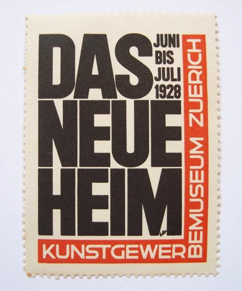 Postage stamp commemorating the 1928 exhibition Das Neue Heim. Designed by Ernst Keller.