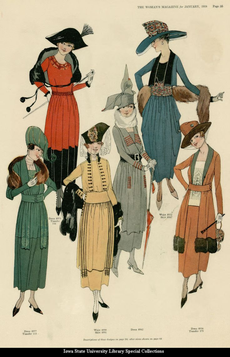 "kittyinva:    1918 January, The Woman's Magazine fashion plates. Note the continuance of ""the Russian influence"" in some of the dresses (seen in the Louise Dresser plate earlier). Ethnic and ""peasant"" styles will be seen throughout the late teens and through the twenties."