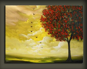 tree painting cloud painting large landscape abstract 18 x 24