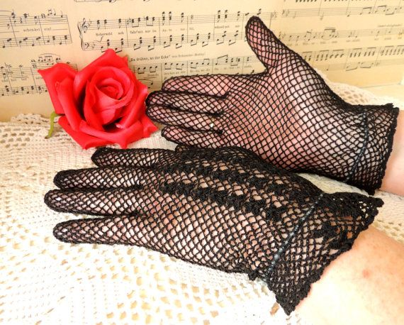 Vintage Crochet Gloves Openwork Gloves French Black