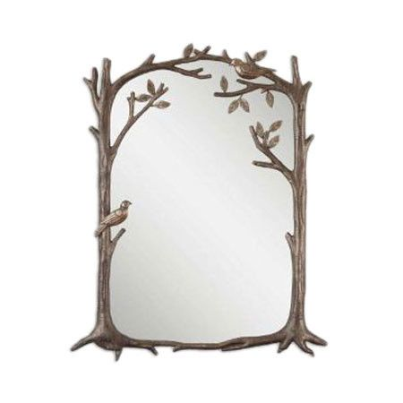 Bring the beauty of nature to your bedroom or foyer with this warmly weathered wall mirror, showcasing an artful bird and leaf-themed frame.    ...