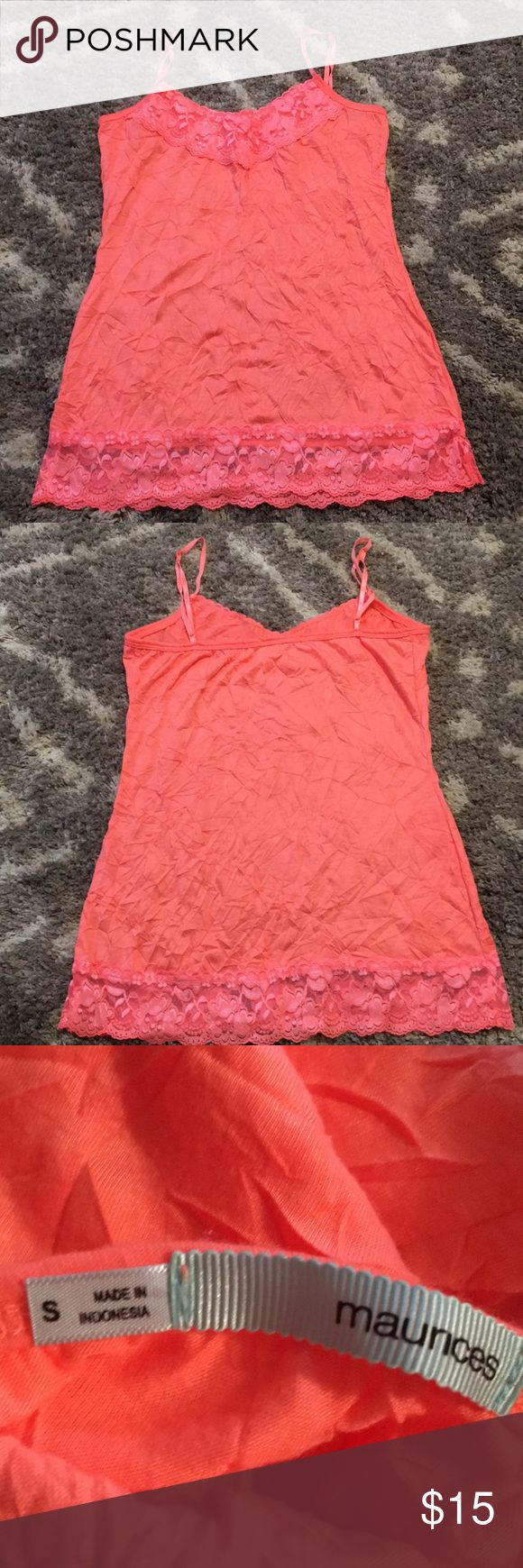Coral Maurices Cami Tank S Maurice's Size Small Neon Color Cami/Lace Tank.  Great preowned condition. Any questions please ask. Thank you 😊 Maurices Tops Camisoles