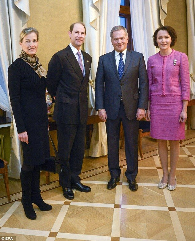 Finnish President Sauli Niinisto (2-R) and his wife Jenni Haukio (R) welcome Prince Edward...