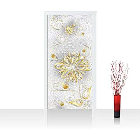 Türtapete selbstklebend 91x211 cm PREMIUM PLUS Tür Fototapete Türposter Türpanel Foto Tapete Bild - Ornament Blumen Gold Diamant - no. 1131