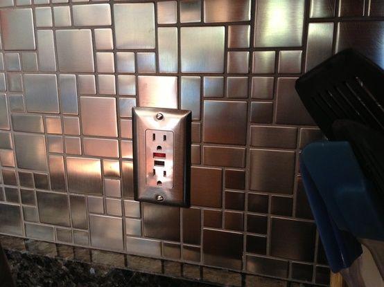 Modern cobble pattern stainless steel mosaic tile emt for Stainless steel tile backsplash installation