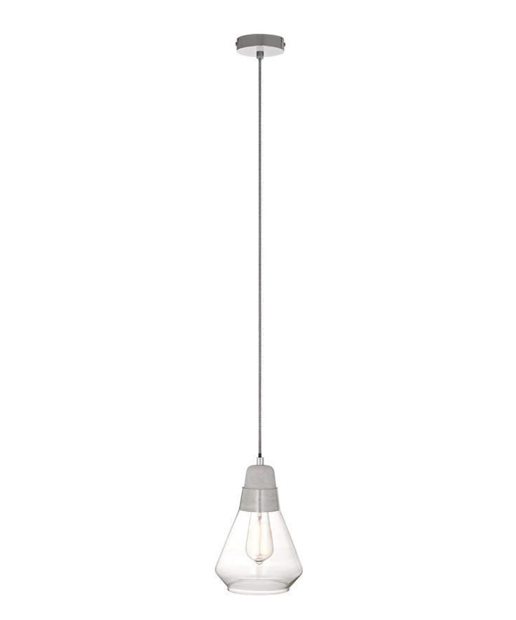 Ando 1 Light Pendant in Concrete/Glass | Pendant Lights | Lighting