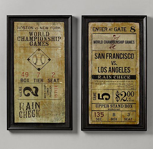 Vintage Baseball Ticket Art - I think these would be great for Corey's house