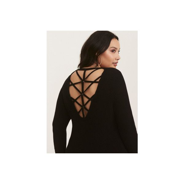 Torrid Black Knit Grommet Cage Back Sweater ($59) ❤ liked on Polyvore featuring tops, sweaters, black, plus size, plus size pullover, womens plus size tops, plus size christmas tops, christmas sweaters and thick knit sweater