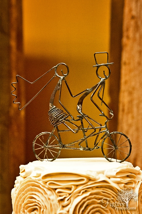 tandem bike wire cake topper, remember you don't have to use conventional cake Toppers use something that fits ur personality, look in home decor depts or garden centers x