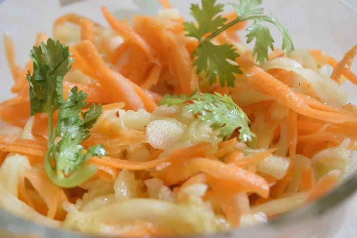 Poorni's Easy Cookbook: Carrot Cucumber Slaw with Apple Cider Vinaigrette