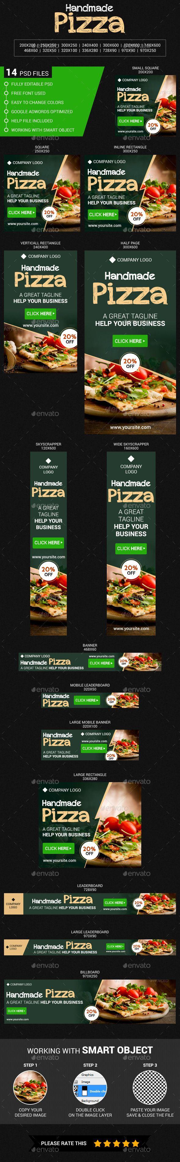Handmade Pizza Web Banners Template PSD #design #ads Download: http://graphicriver.net/item/handmade-pizza/13183345?ref=ksioks