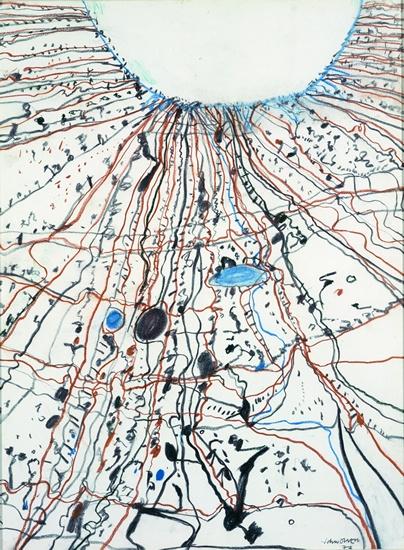 John Olsen | The Simpson Desert Joining Lake Eyre 1977 pastel on paper, 79.5 x 58.5 cm