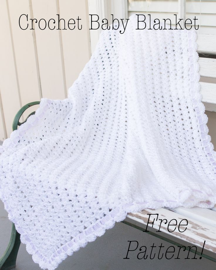 crochet baby blanket tutorial, free crochet pattern baby blanket, crochet scallop edge baby blanket, white crochet baby blanket