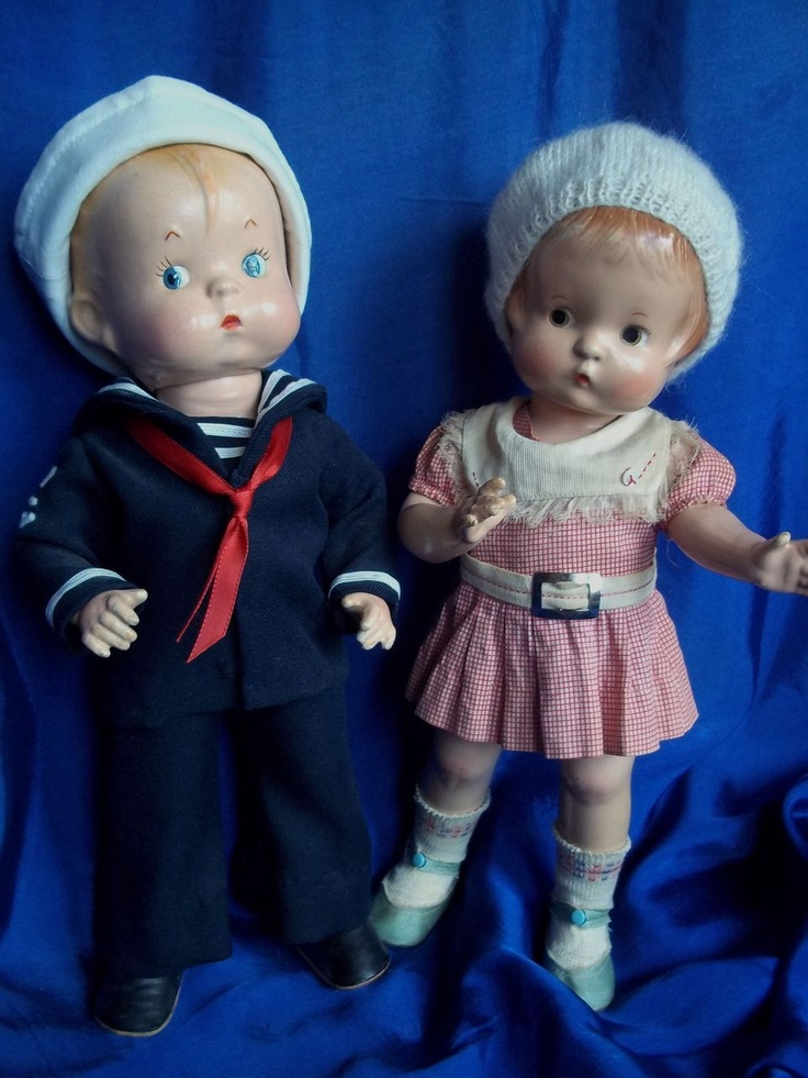 1930's Composition Skippy in Sailor Outfit with Girlfriend-Designed to be Effanbee's Patsy's Boyfiend