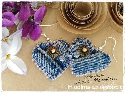 Il filo di mais di Chiara Gloria e Daniela: Riciclo jeans: orecchini a cuore