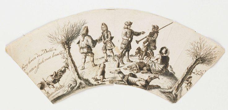 Anonymous | Jachtgezelschap, ontwerp voor een glasgravure, Anonymous, c. 1690 - c. 1725 | Ontwerp, gewassen pentekening in bruin en grijs, voor een glasdecoratie. Op het waaiervormige blad is een jacht met jagers en honden is te zien en de tekst: LANG LEVEN DE BOLLEN/DIE EETEN SPEK MET KNOLLEN.