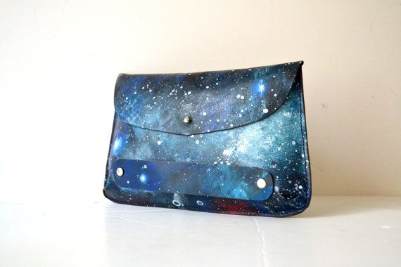 Galaxy Painted Clutch Wallet Purse Nebula by BarbaLeatherStudio