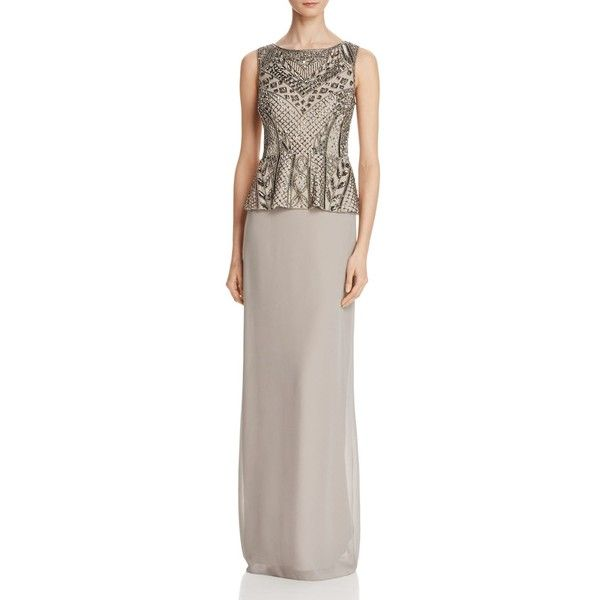 Adrianna Papell Embellished Peplum Bodice Gown (1.115 RON) ❤ liked on Polyvore featuring dresses, gowns, platinum, two piece dresses, two piece gown, beaded evening gowns, chiffon dresses and adrianna papell evening dresses