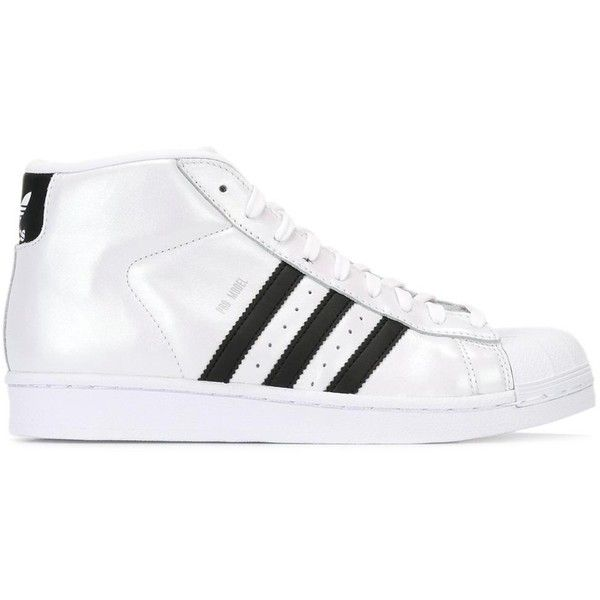 adidas shoes high tops white. adidas \u0027pro model\u0027 hi-top sneakers ($104) ❤ liked on polyvore shoes high tops white