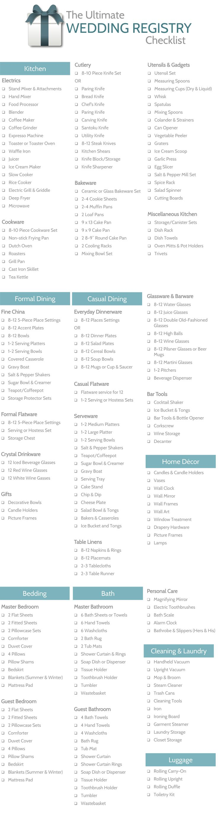 Wedding Registry Checklists