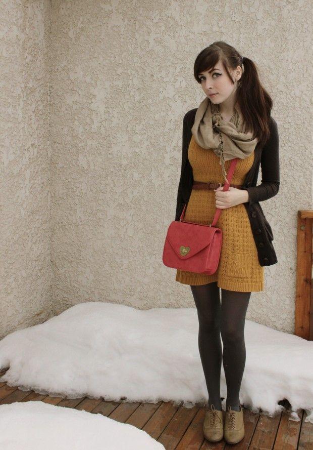 yellow sweater dress + tights. This girl looks like @Holly Elkins Elkins Elkins Kelly!!