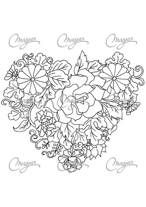 Coeur de fleur coloriage dessin e la main par la masjasartwork de masja kleurplaten hartjes - Coloriage fleur 8 petales ...