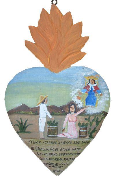 Фермин и Кармен преподносят это милагро (разновидность экс вото) Св. Младенцу Аточскому за то, что они в этом году продали больше кактусов, чем в прошлом. За это приносят благодарность. 1947, Оахака, штат Оахака, Мексика.