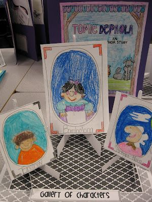 """Gallery of Character Traits- Students draw portraits of the main characters and write character traits on the back of their """"canvases"""".   Tomie dePaola Author Study on Teacher's Notebook."""