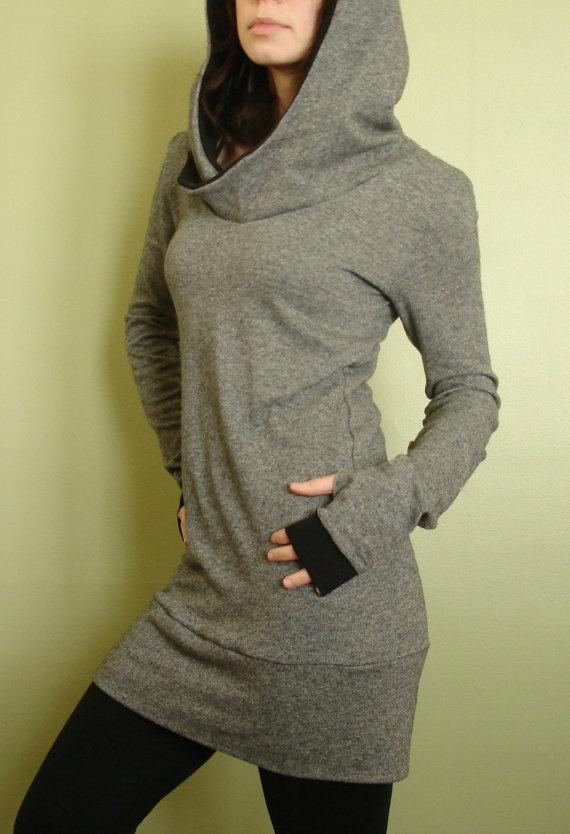 sweater tunic dress/ extra long sleeves w/thumbholes