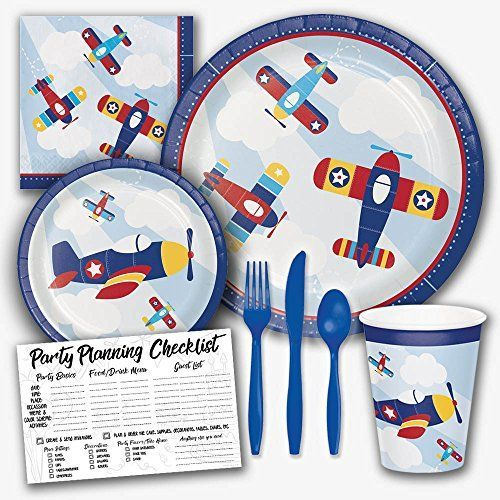 Lil' Flyer Airplane Pilot Birthday Theme Party Supply Set Serves 8 Guests. This adorable set features colorful airplanes flying high in the sky. #aviationparty
