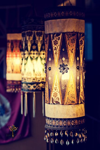Ethnic lanterns. Could use any fabric and freak out a traditional room with a new shape!  Lanterns = magic. I'm thinking of making an entire room of my house in a Moroccan style, and there would be MANY lanterns. Oh yes :)