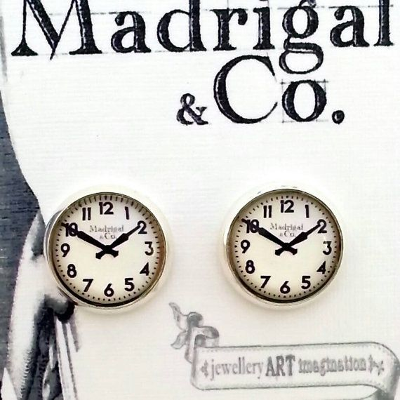 Check out this item in my Etsy shop https://www.etsy.com/au/listing/194950813/clock-earrings-retro-style-studs