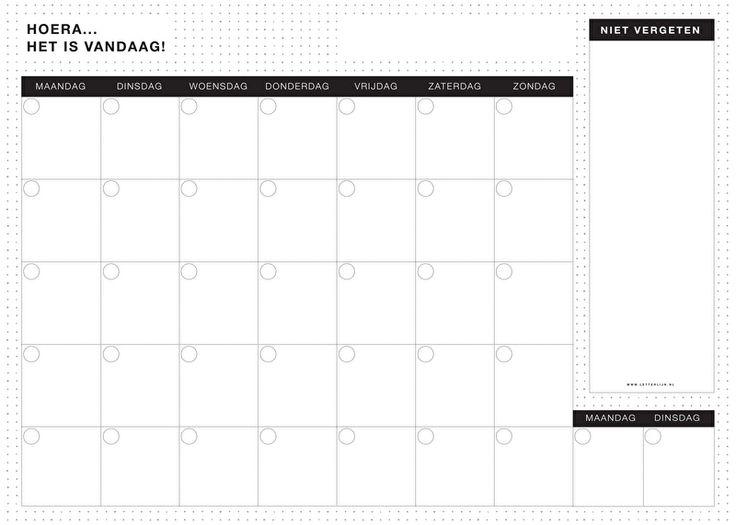 Maandplanner Black Amp White Knutselen Maandplanner
