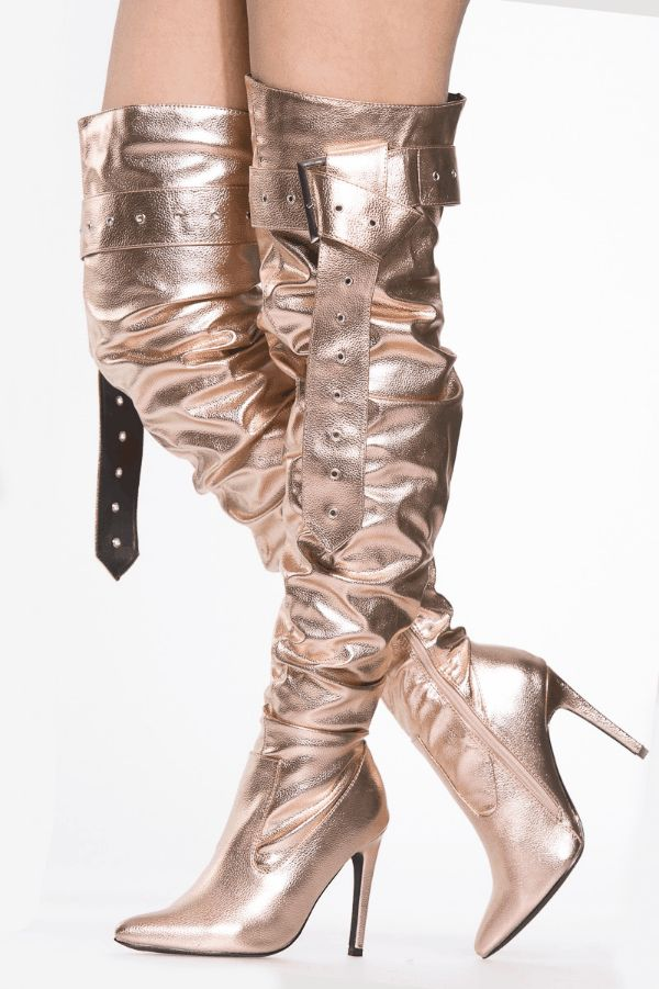 40% off, full price items only at CiCiHot.com.  Rose Gold Faux Leather Slouch Belt Thigh High #Boots