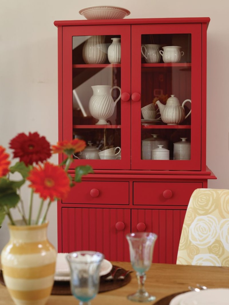 10 Ideas For Decorating With Painted Furniture ~ Red Painted Hutch With  Whiteu2026