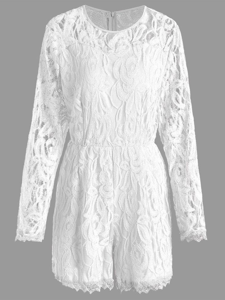 Lace Panel See Thru Plus Size Romper, WHITE, 3XL----19.93
