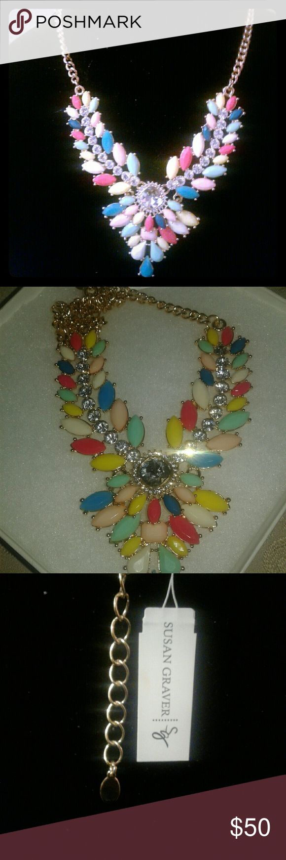 Susan Graver Nevklace Beautiful SG, simulated multi colored, pastels and rhinestone pendant, Goldtone necklace. Susan Graver Jewelry Necklaces