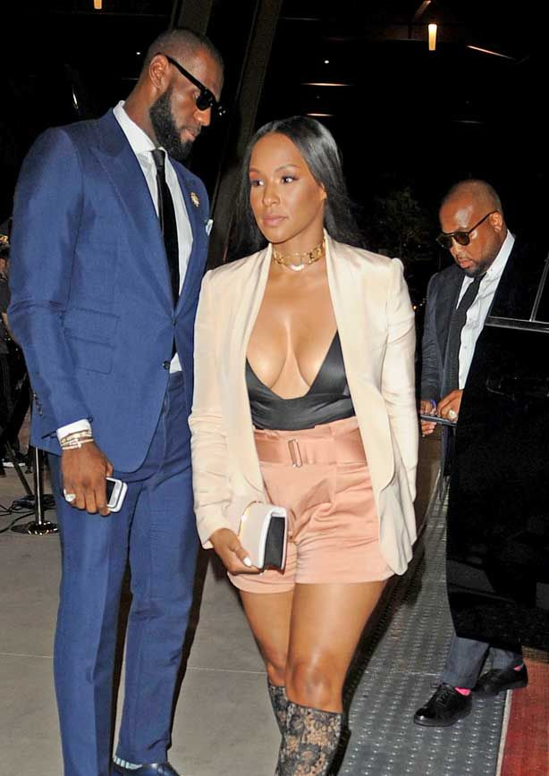 LeBron James and wife Savannah Brinson were pictured at the Floyd Mayweather Vs Conor McGregor fight with Savannah stealing the show and turning heads in her revealing cleavage-baring outfit! © Atlantic Images