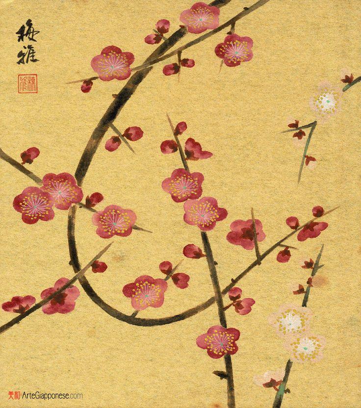 Pruno cremisi,Delicata pittura su shikishi (色紙) firmata dall'artista Ume Miyabi (梅雅) e raffigurante dei rametti di kobai (紅梅), ovvero dell'albero di pruno cremisi, carichi di boccioli e di fiori, primo coraggioso annuncio invernale della rinascita della natura che si manifesterà di lì a poco con la variopinta primavera giapponese.