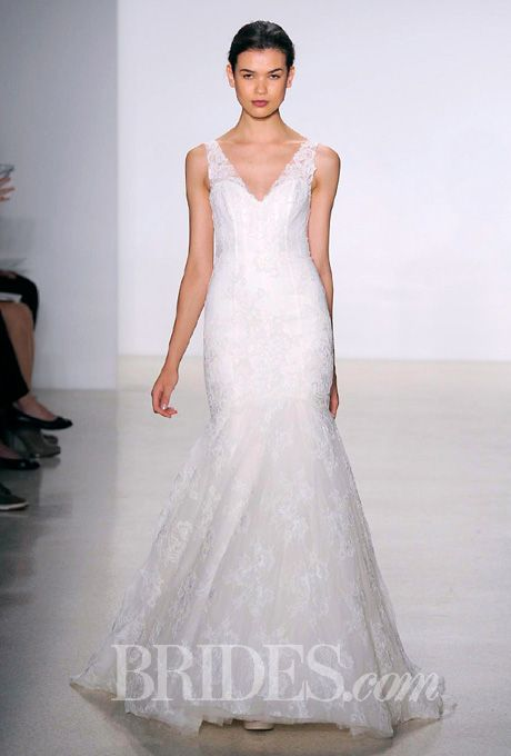 Brides.com: . Corded lace mermaid wedding dress with plunging v-neckline and low open back, Kenneth Pool  See more Kenneth Pool wedding dresses.