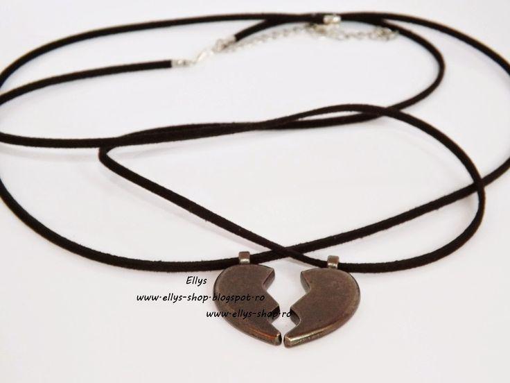 Ellys Shop: Set doua coliere- pentru el si ea jumatati inima