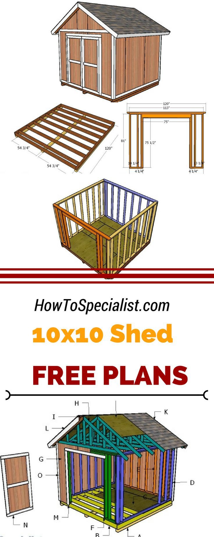 If you need more storage space in the backyard, you should check out 10x10 shed plans. Learn how to build a small garden shed using my step by step plans and instructions. http://howtospecialist.com #diy #shed
