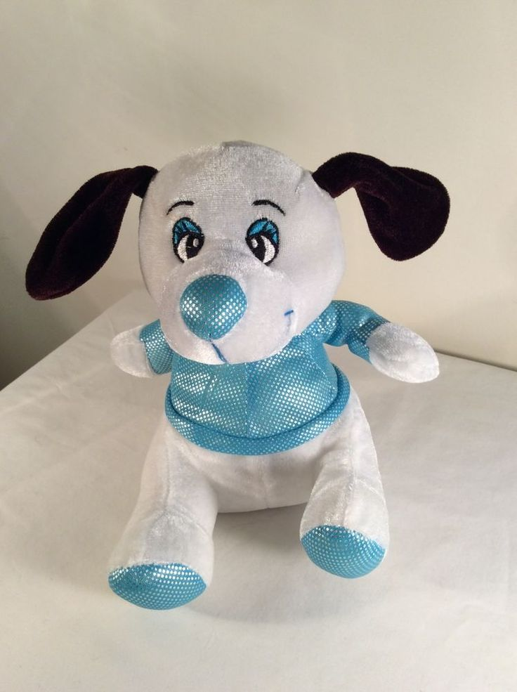 Plush Appeal Mardi Gras Plush Stuffed Animal PUPPY DOG White Blue Purple Ears  #PlushAppeal