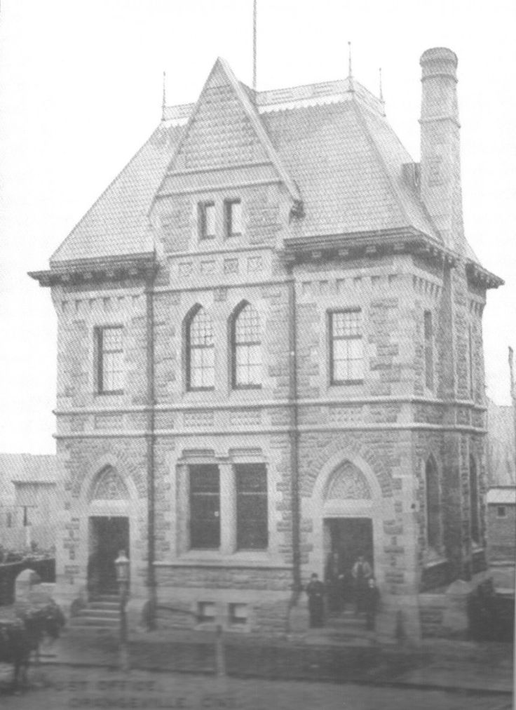 Orangeville's original post office, located on Broadway, can be seen in this photo as patrons enter through the West door and their horses patiently wait out front on Broadway. The large, marble clock which now calls the Broadway median home, sat for a time at the top of the post office. The building was demolished in 1963.