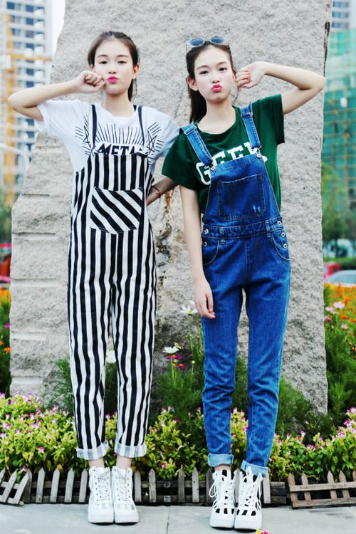 overalls. aigoo, so cute. This remind me to my sis and me :)))