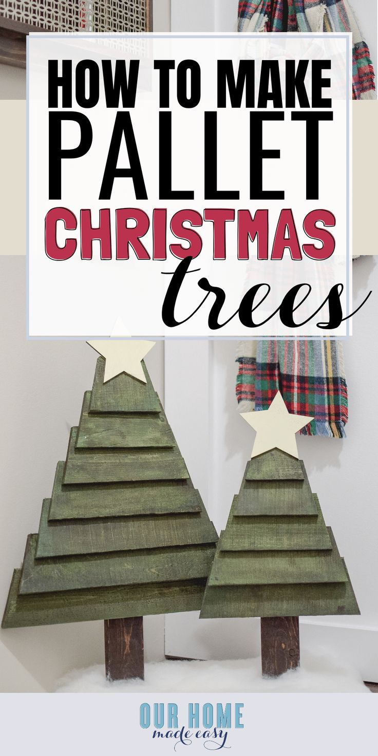 DIY Woodworking Ideas Make your own pallet Christmas trees quickly! You can paint them any color and a...