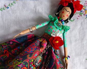 Frida Kahlo Artdoll, Mexican Artist, Collectors Doll